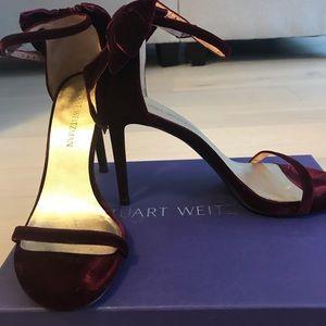 Stuart Weitzman - Size 39 - Burgundy Sandal Heels